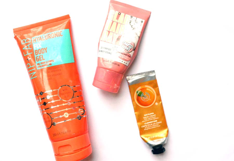 nip + fab hyaluronic fix body gel, glad hair day, satsuma hand cream