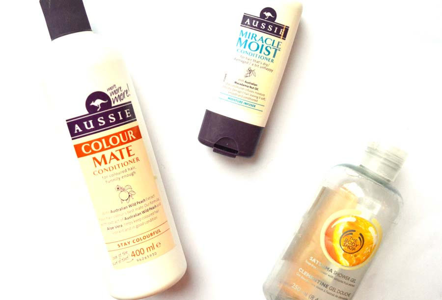 auddie colour mate shampoo, aussie miracle moist conditioner, body shop satsuma shower gel